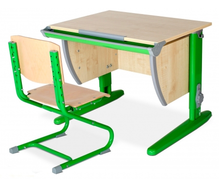Растущая парта Classic СУТ 14 со стулом 01-01 клен / зеленыйРастущие<br>Высоту и глубину сидения стула можно настроить в зависимости от роста пользователя. Регулировки стула могут производить только взрослые. <br><br>Стол и стул выполнены из ЛДСП. Ножки стола регулируются по высоте, угол столешницы изменяется до 26 градусов - 9 ступеней регулировки.<br>