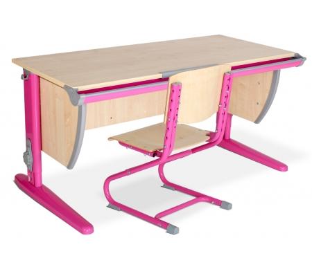 Растущая парта Classic СУТ 15 со стулом СУТ 01-01 клен / розовыйРастущие<br>Изделие выполнено из ЛДСП. Ножки регулируются по высоте, угол столешницы изменяется до 26 градусов - 9 ступеней регулировки. <br> <br>  Парта оснащена:<br> <br>  - пластиковыми накладками;<br> <br>  - регулируемыми подпятниками;<br> <br>  - пеналом для ручек и карандашей;<br> <br>  - крючком для портфеля;  <br>    - держателем-линейкой.<br>   <br>     <br>      <br>     <br>   <br>     <br>      Высоту ножек стула и наклон спинки можно менять. Так же можно отрегулировать сиденье по вылету.<br>     <br>      Максимальная глубина сиденья: 36 см.<br>