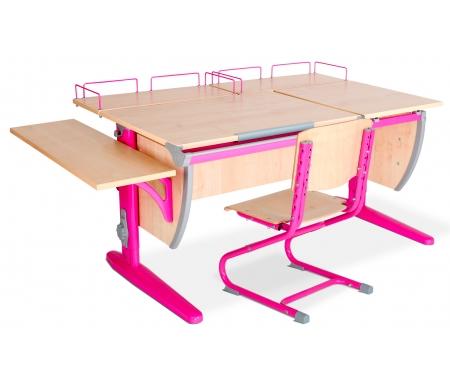 Растущая парта Classic СУТ 17 с полкой задней 15.210 (2 шт.) и полкой навесной 14.230 и стулом 01-01 клен / розовыйРастущие<br>Высоту и глубину сидения стула можно настроить в зависимости от роста пользователя. Регулировки стула могут производить только взрослые. Стол и стул выполнены из ЛДСП. <br> <br>  <br> <br> <br>Ножки стола регулируются по высоте, угол столешницы изменяется до 26 градусов - 9 ступеней регулировки. <br>   <br>    <br>   <br> <br>  Парта идет в комплекте с двумя задними полками, которые сделаны из того же материала, что и стол.<br> <br>   <br>    <br>   <br> Габариты изделий:<br><br>- полка задняя 15.210: ширина - 60 см, глубина - 25 см.<br><br>- полка боковая 14.230: ширина - 25 см, глубина - 75 см.<br>