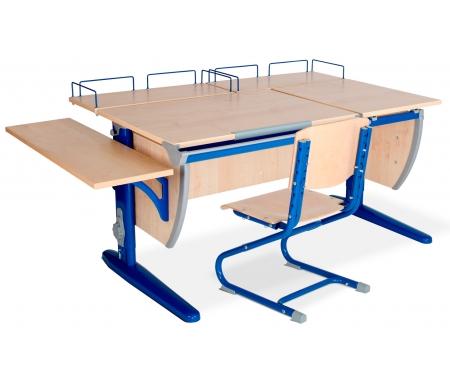 Растущая парта Classic СУТ 17 с полкой задней 15.210 (2 шт.) и полкой навесной 14.230 и стулом 01-01 клен / синийРастущие<br>Высоту и глубину сидения стула можно настроить в зависимости от роста пользователя. Регулировки стула могут производить только взрослые. Стол и стул выполнены из ЛДСП. <br> <br>  <br> <br> <br>Ножки стола регулируются по высоте, угол столешницы изменяется до 26 градусов - 9 ступеней регулировки. <br>   <br>    <br>   <br> <br>  Парта идет в комплекте с двумя задними полками, которые сделаны из того же материала, что и стол.<br> <br>   <br>    <br>   <br> Габариты изделий:<br><br>- полка задняя 15.210: ширина - 60 см, глубина - 25 см.<br><br>- полка боковая 14.230: ширина - 25 см, глубина - 75 см.<br>