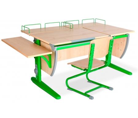Растущая парта Classic СУТ 17 с полкой задней 15.210 (2 шт.) и полкой навесной 14.230 и стулом 01-01 клен / зеленыйРастущие<br>Высоту и глубину сидения стула можно настроить в зависимости от роста пользователя. Регулировки стула могут производить только взрослые. Стол и стул выполнены из ЛДСП. <br> <br>  <br> <br> <br>Ножки стола регулируются по высоте, угол столешницы изменяется до 26 градусов - 9 ступеней регулировки. <br>   <br>    <br>   <br> <br>  Парта идет в комплекте с двумя задними полками, которые сделаны из того же материала, что и стол.<br> <br>   <br>    <br>   <br> Габариты изделий:<br><br>- полка задняя 15.210: ширина - 60 см, глубина - 25 см.<br><br>- полка боковая 14.230: ширина - 25 см, глубина - 75 см.<br>