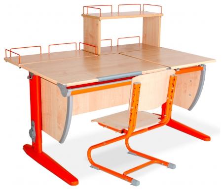Растущая парта Classic СУТ 17 с полкой задней 15.210 и полкой задней 15.240 и стулом 01-01 клен / оранжевыйРастущие<br>Высоту и глубину сидения стула можно настроить в зависимости от роста пользователя. Регулировки стула могут производить только взрослые. Стол и стул выполнены из ЛДСП. <br> <br>  <br> <br> <br>Ножки стола регулируются по высоте, угол столешницы изменяется до 26 градусов - 9 ступеней регулировки. <br>   <br>    <br>   <br> <br>  Парта идет в комплекте с двумя задними полками, которые сделаны из того же материала, что и стол.<br><br>  <br>    <br>  <br><br>  Габариты изделий:<br><br>  - полка задняя 15.210: ширина - 60 см, глубина - 25 см.<br><br>  - полка задняя 15.240: ширина - 60 см, глубина - 25 см, высота - 45 см.<br>