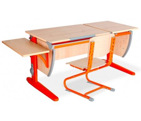 Растущая парта Classic СУТ 17 со стулом 01-01 и полкой навесной 14.290 клен / оранжевыйРастущие<br>Высоту и глубину сидения стула можно настроить в зависимости от роста пользователя. Регулировки стула могут производить только взрослые. Стол и стул выполнены из ЛДСП. <br> <br>  <br> <br> <br>Ножки стола регулируются по высоте, угол столешницы изменяется до 26 градусов - 9 ступеней регулировки. <br>   <br>    <br>   <br> <br>  Парта идет в комплекте с боковой полкой, которая сделана из того же материала, что и стол. Ширина изделия - 55 см, глубина - 25 см.<br>