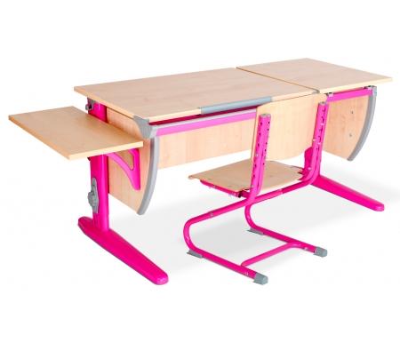 Растущая парта Classic СУТ 17 со стулом 01-01 и полкой навесной 14.290 клен / розовыйРастущие<br>Высоту и глубину сидения стула можно настроить в зависимости от роста пользователя. Регулировки стула могут производить только взрослые. Стол и стул выполнены из ЛДСП. <br> <br>  <br> <br> <br>Ножки стола регулируются по высоте, угол столешницы изменяется до 26 градусов - 9 ступеней регулировки. <br>   <br>    <br>   <br> <br>  Парта идет в комплекте с боковой полкой, которая сделана из того же материала, что и стол. Ширина изделия - 55 см, глубина - 25 см.<br>