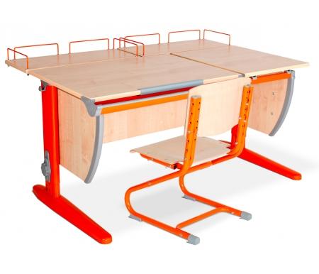 Растущая парта Classic СУТ 17 со стулом 01-01 и полкой задней 15.210 (2 шт.) клен / оранжевыйРастущие<br>Высоту и глубину сидения стула можно настроить в зависимости от роста пользователя. Регулировки стула могут производить только взрослые. Стол и стул выполнены из ЛДСП. <br> <br>  <br> <br> <br>Ножки стола регулируются по высоте, угол столешницы изменяется до 26 градусов - 9 ступеней регулировки. <br>   <br>    <br>   <br> <br>  Парта идет в комплекте с двумя задними полками, которые сделаны из того же материала, что и стол. Габариты изделий одинаковые: ширина - 60 см, глубина - 25 см.<br>