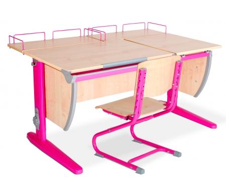 Растущая парта Classic СУТ 17 со стулом 01-01 и полкой задней 15.210 (2 шт.) клен / розовыйРастущие<br>Высоту и глубину сидения стула можно настроить в зависимости от роста пользователя. Регулировки стула могут производить только взрослые. Стол и стул выполнены из ЛДСП. <br> <br>  <br> <br> <br>Ножки стола регулируются по высоте, угол столешницы изменяется до 26 градусов - 9 ступеней регулировки. <br>   <br>    <br>   <br> <br>  Парта идет в комплекте с двумя задними полками, которые сделаны из того же материала, что и стол. Габариты изделий одинаковые: ширина - 60 см, глубина - 25 см.<br>
