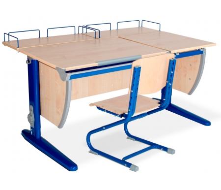 Растущая парта Classic СУТ 17 со стулом 01-01 и полкой задней 15.210 (2 шт.) клен / синийРастущие<br>Высоту и глубину сидения стула можно настроить в зависимости от роста пользователя. Регулировки стула могут производить только взрослые. Стол и стул выполнены из ЛДСП. <br> <br>  <br> <br> <br>Ножки стола регулируются по высоте, угол столешницы изменяется до 26 градусов - 9 ступеней регулировки. <br>   <br>    <br>   <br> <br>  Парта идет в комплекте с двумя задними полками, которые сделаны из того же материала, что и стол. Габариты изделий одинаковые: ширина - 60 см, глубина - 25 см.<br>