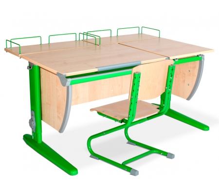 Растущая парта Classic СУТ 17 со стулом 01-01 и полкой задней 15.210 (2 шт.) клен / зеленыйРастущие<br>Высоту и глубину сидения стула можно настроить в зависимости от роста пользователя. Регулировки стула могут производить только взрослые. Стол и стул выполнены из ЛДСП. <br> <br>  <br> <br> <br>Ножки стола регулируются по высоте, угол столешницы изменяется до 26 градусов - 9 ступеней регулировки. <br>   <br>    <br>   <br> <br>  Парта идет в комплекте с двумя задними полками, которые сделаны из того же материала, что и стол. Габариты изделий одинаковые: ширина - 60 см, глубина - 25 см.<br>