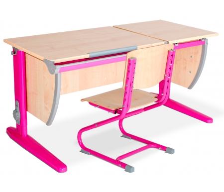 Здесь можно купить Classic СУТ 17 со стулом 01-01 клен / розовый  Растущая парта ДЭМИ Растущие