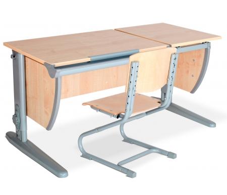 Растущая парта Classic СУТ 17 со стулом 01-01 клен / серыйРастущие<br>Модель с раздельной столешницей без подвесной тумбы и задних приставок. Высоту и глубину сидения стула можно настроить в зависимости от роста пользователя. Регулировки стула могут производить только взрослые. <br><br>Стол и стул выполнены из ЛДСП. Ножки стола регулируются по высоте, угол столешницы изменяется до 26 градусов - 9 ступеней регулировки.<br>