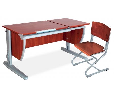 Растущая парта Classic СУТ 17 со стулом 01-01 яблоня / серыйРастущие<br>Модель с раздельной столешницей без подвесной тумбы и задних приставок. Высоту и глубину сидения стула можно настроить в зависимости от роста пользователя. Регулировки стула могут производить только взрослые. <br><br>Стол и стул выполнены из ЛДСП. Ножки стола регулируются по высоте, угол столешницы изменяется до 26 градусов - 9 ступеней регулировки.<br>