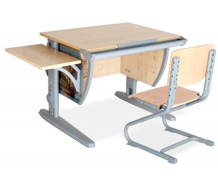 Растущая парта Imagine СУТ 14 со стулом 01-01 и полкой навесной 14.290 клен / серыйРастущие<br>Высоту и глубину сидения стула можно настроить в зависимости от роста пользователя. Регулировки стула могут производить только взрослые. Стол и стул выполнены из ЛДСП. <br> <br>  <br> <br> <br>Ножки стола регулируются по высоте, угол столешницы изменяется до 26 градусов - 9 ступеней регулировки. <br>   <br>    <br>   <br> <br>  Парта идет в комплекте с боковой полкой, которая сделана из того же материала, что и стол. Ширина изделия - 55 см, глубина - 25 см.<br>