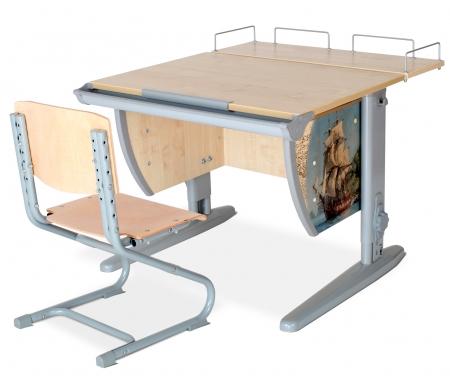 Растущая парта Imagine СУТ 14 со стулом 01-01 и полкой задней 14.210 клен / серыйРастущие<br>Высоту и глубину сидения стула можно настроить в зависимости от роста пользователя. Регулировки стула могут производить только взрослые. Стол и стул выполнены из ЛДСП. <br> <br>  <br> <br> <br>Ножки стола регулируются по высоте, угол столешницы изменяется до 26 градусов - 9 ступеней регулировки. <br>   <br>    <br>   <br> <br>  Парта идет в комплекте с задней полкой, которая сделана из того же материала, что и стол. Ширина изделия - 75 см, глубина - 25 см.<br>