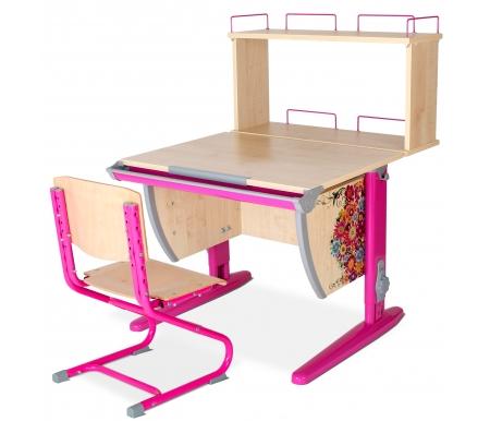Растущая парта Imagine СУТ 14 со стулом 01-01 и полкой задней 14.250 клен / розовыйРастущие<br>Высоту и глубину сидения стула можно настроить в зависимости от роста пользователя. Регулировки стула могут производить только взрослые. Стол и стул выполнены из ЛДСП. <br> <br>  <br> <br> <br>Ножки стола регулируются по высоте, угол столешницы изменяется до 26 градусов - 9 ступеней регулировки. <br>   <br>    <br>   <br> <br>  Парта идет в комплекте с задней полкой, которая сделана из того же материала, что и стол. Ширина изделия - 75 см, глубина - 25 см, высота - 35.<br>