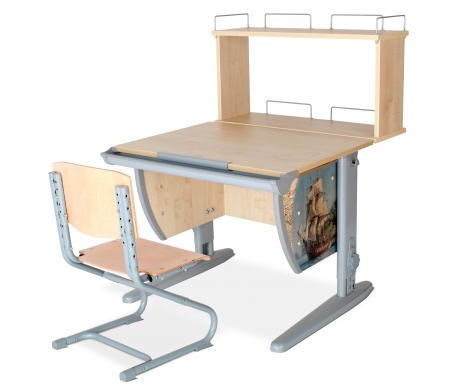Растущая парта Imagine СУТ 14 со стулом 01-01 и полкой задней 14.250 клен / серыйРастущие<br>Высоту и глубину сидения стула можно настроить в зависимости от роста пользователя. Регулировки стула могут производить только взрослые. Стол и стул выполнены из ЛДСП. <br> <br>  <br> <br> <br>Ножки стола регулируются по высоте, угол столешницы изменяется до 26 градусов - 9 ступеней регулировки. <br>   <br>    <br>   <br> <br>  Парта идет в комплекте с задней полкой, которая сделана из того же материала, что и стол. Ширина изделия - 75 см, глубина - 25 см, высота - 35.<br>