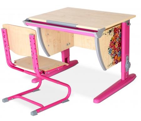 Купить Растущая парта ДЭМИ, Imagine СУТ 14 со стулом 01-01 клен / розовый, ДСП, МДФ, дерево