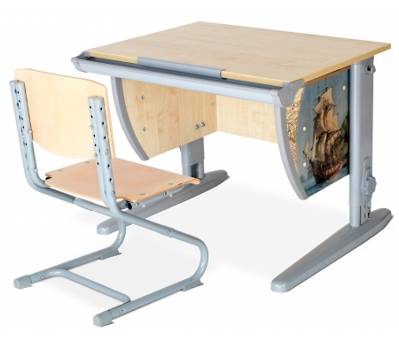 Растущая парта Imagine СУТ 14 со стулом 01-01 клен / серыйРастущие<br>Высоту и глубину сидения стула можно настроить в зависимости от роста пользователя. Регулировки стула могут производить только взрослые. <br><br>Стол и стул выполнены из ЛДСП. Ножки стола регулируются по высоте, угол столешницы изменяется до 26 градусов - 9 ступеней регулировки.<br>