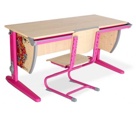 Растущая парта  Imagine СУТ 15 со стулом СУТ 01-01 клен / розовый с рисунком цветыРастущие<br>Изделие выполнено из ЛДСП. Ножки регулируются по высоте, угол столешницы изменяется до 26 градусов - 9 ступеней регулировки. <br> <br>  Парта оснащена:<br> <br>  - пластиковыми накладками;<br> <br>  - регулируемыми подпятниками;<br> <br>  - пеналом для ручек и карандашей;<br> <br>  - крючком для портфеля;  <br>    - держателем-линейкой.<br>   <br>     <br>      <br>     <br>   <br>     <br>      Высоту ножек стула и наклон спинки можно менять. Так же можно отрегулировать сиденье по вылету.<br>     <br>      Максимальная глубина сиденья: 36 см.<br>