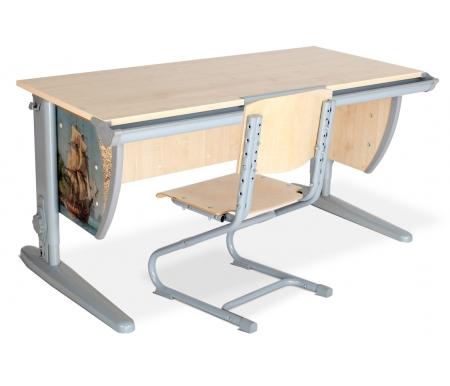 Растущая парта Imagine СУТ 15 со стулом СУТ 01-01 клен / серый с рисунком фрегатРастущие<br>Изделие выполнено из ЛДСП. Ножки регулируются по высоте, угол столешницы изменяется до 26 градусов - 9 ступеней регулировки. <br> <br>  Парта оснащена:<br> <br>  - пластиковыми накладками;<br> <br>  - регулируемыми подпятниками;<br> <br>  - пеналом для ручек и карандашей;<br> <br>  - крючком для портфеля;  <br>    - держателем-линейкой.<br>   <br>     <br>      <br>     <br>   <br>     <br>       <br>        Высоту ножек стула и наклон спинки можно менять. Так же можно отрегулировать сиденье по вылету.<br>       <br>        Максимальная глубина сиденья: 36 см.<br>
