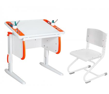 Растущая парта TECHNO СУТ 26 со стулом СУТ 01-01  белый / оранжевыйРастущие<br>Парта Дэми СУТ 26 - это компактный рабочий стол, который ваш ребенок оценит за яркий дизайн и удобную конструкцию. По бокам столешницы расположены два органайзера, включающие отверстия для стаканов с водой и пеналы для хранения канцелярии. Стол выполнен в универсальном белом цвете, который подойдет в комнату мальчика и девочки. Размер столешницы – 80 см на 55 см.<br><br><br>  <br>Особенности парты Дэми:<br><br>- Парта предусматривает регулировку по высоте и рассчитана на рост ребенка от 100 см до 185 см.<br>  <br>- В изделие встроен 9-ступенчатый механизм наклона столешницы, позволяющий установить наклон парты от 0 до 26°. Ребенок может зафиксировать столешницу в том положении, которое будет удобно ему для выполнения письменных работ, чтения и рисования.<br>  <br>- Края столешницы имеют специальные скругленные накладки и полиуретановый бампер, снижающие травмоопансость изделия.<br>  <br>- Подпятники на ножках обеспечивают устойчивость стола.<br>  <br>- Встроенные органайзеры по боком парты позволят удобно разместить все канцелярские принадлежности.<br>  <br>- Парту можно использовать с 5 лет и до окончания ребенком школы.<br><br>- Высоту ножек стула и наклон спинки можно менять. Так же можно отрегулировать сиденье по вылету. Максимальная глубина сиденья: 36 см.<br>  <br><br>  <br>Материал: ЛДСП.<br>