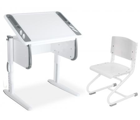 Здесь можно купить TECHNO СУТ 26 со стулом СУТ 01-01  белый / серый  Растущая парта ДЭМИ Растущие