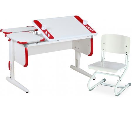Растущая парта TECHNO СУТ 31 с задними полками СУТ 26.230 (2 шт.) и стулом СУТ 01-01 белый / красныйРастущие<br>Парта Дэми СУТ 3 - это самый современный детский стол, в котором предусмотрено все, чтобы вашего ребенку было комфортно заниматься дома. Стол имеет раздельную столешницу, одна сторона которой поднимается под определенным углом, а вторая остается неподвижной. Благодаря такому решению ребенок может писать или рисовать, установив удобный ему наклон столешницы, а канцелярия останется на второй части столешницы и не скатится на пол.<br> <br>На подъемной части парты расположены два органайзера, включающие пеналы для ручек и отверстия для стаканов. Размер столешницы – 120 см на 55 см.<br> <br> <br>  <br> <br> <br>Особенности парт Дэми: <br> <br>- Парта предусматривает регулировку по высоте и рассчитана на рост ребенка от 120 см до 198 см.<br> <br>- В изделие встроен 9-ступенчатый механизм наклона столешницы, позволяющий установить наклон парты от 0 до 26°. Ребенок может зафиксировать столешницу в том положении, которое будет удобно ему для выполнения письменных работ, чтения и рисования.<br> <br>- Края столешницы имеют специальные скругленные накладки, снижающие травмоопансость изделия.<br> <br>- Подпятники на ножках обеспечивают устойчивость стола.<br> <br>- Парту можно использовать с 5 лет и до окончания ребенком школы.<br> <br>- Высоту ножек стула и наклон спинки можно менять. Так же можно отрегулировать сиденье по вылету. Максимальная глубина сиденья: 36 см.<br> <br> <br>  <br> <br> <br>Размеры задней одноярусной полки (ДxШ): 55 см x 25 см.<br> <br>Материал: ЛДСП.<br>