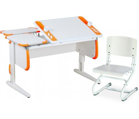 Растущая парта TECHNO СУТ 31 с задними полками СУТ 26.230 (2 шт.) и стулом СУТ 01-01 белый / оранжевыйРастущие<br>Парта Дэми СУТ 3 - это самый современный детский стол, в котором предусмотрено все, чтобы вашего ребенку было комфортно заниматься дома. Стол имеет раздельную столешницу, одна сторона которой поднимается под определенным углом, а вторая остается неподвижной. Благодаря такому решению ребенок может писать или рисовать, установив удобный ему наклон столешницы, а канцелярия останется на второй части столешницы и не скатится на пол.<br><br>На подъемной части парты расположены два органайзера, включающие пеналы для ручек и отверстия для стаканов. Размер столешницы – 120 см на 55 см.<br><br><br>  <br><br><br>Особенности парт Дэми: <br><br>- Парта предусматривает регулировку по высоте и рассчитана на рост ребенка от 120 см до 198 см.<br><br>- В изделие встроен 9-ступенчатый механизм наклона столешницы, позволяющий установить наклон парты от 0 до 26°. Ребенок может зафиксировать столешницу в том положении, которое будет удобно ему для выполнения письменных работ, чтения и рисования.<br><br>- Края столешницы имеют специальные скругленные накладки, снижающие травмоопансость изделия.<br><br>- Подпятники на ножках обеспечивают устойчивость стола.<br><br>- Парту можно использовать с 5 лет и до окончания ребенком школы.<br><br>- Высоту ножек стула и наклон спинки можно менять. Так же можно отрегулировать сиденье по вылету. Максимальная глубина сиденья: 36 см.<br><br><br>  <br><br><br>Размеры задней одноярусной полки (ДxШ): 55 см x 25 см.<br><br>Материал: ЛДСП.<br>