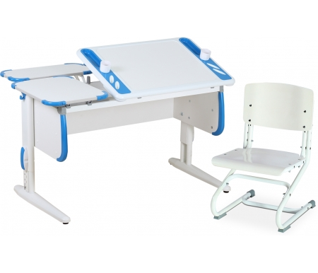 Здесь можно купить TECHNO СУТ 31 с задними полками СУТ 26.230 (2 шт.) и стулом СУТ 01-01 белый / синий  Растущая парта ДЭМИ Растущие