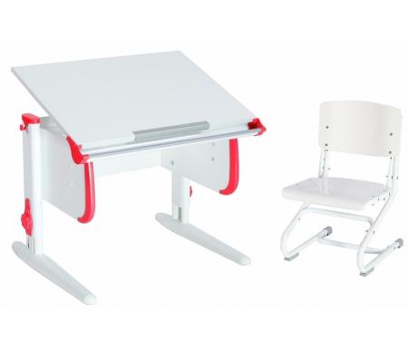 Купить Растущая парта ДЭМИ, White СУТ.24 со стулом СУТ.01-01 белый / красный, ДСП, МДФ, пластик, металл, дерево