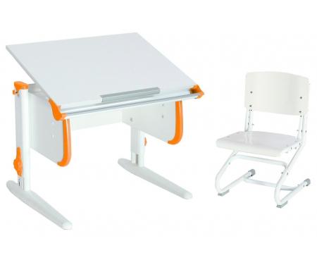 Купить Растущая парта ДЭМИ, White СУТ.24 со стулом СУТ.01-01 белый / оранжевый, ДСП, МДФ, пластик, металл, дерево