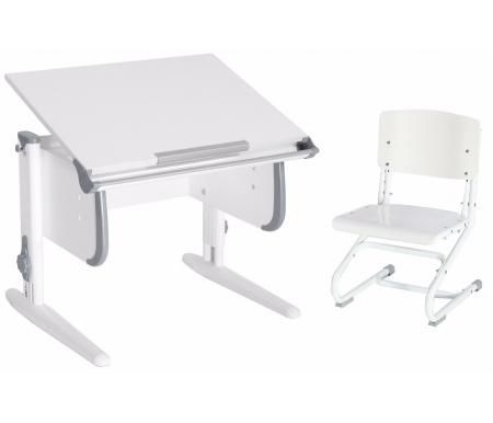 Купить Растущая парта ДЭМИ, White СУТ.24 со стулом СУТ.01-01 белый / серый, ДСП, МДФ, пластик, металл, дерево
