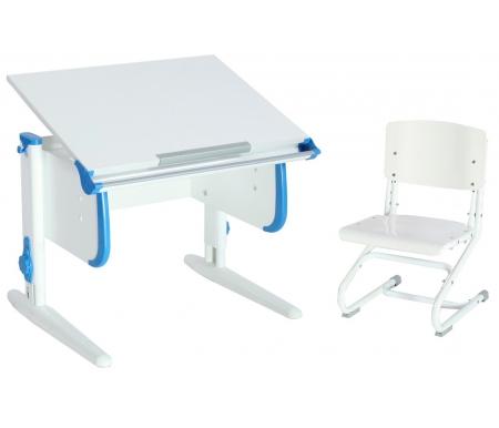 Купить Растущая парта ДЭМИ, White СУТ.24 со стулом СУТ.01-01 белый / синий, ДСП, МДФ, пластик, металл, дерево