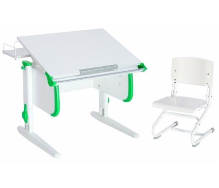 Купить Растущая парта ДЭМИ, White СУТ.24 со стулом СУТ.01-01 белый / зеленый, ДСП, МДФ, пластик, металл, дерево