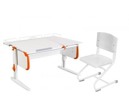 Растущая парта White СУТ 25 с задними полками СУТ 15.210 (2 шт.)  и стулом СУТ 01-01 белый / оранжевыйРастущие<br>Парты Дэми серии White – это удобные детские столы, выполненные в белом цвете, который прекрасно подходит в любую обстановку. Белый каркас парты разбавлен цветными пластиковыми накладками, делающими стол более ярким и интересным для детей.<br><br>Парта имеет раздельную столешницу, у которой можно поднять одну часть под углом от 0 до 26°, а вторую оставить в горизонтальном положении. Это сделано для того, чтобы за основной столешницей ребенок работал, а на дополнительной держал необходимую ему канцелярию. Части столешницы можно менять местами.<br><br>Стол комплектуется двумя задними приставками, на которых удобно располагать компьютер или учебные материалы. Размеры столешницы – 120 см на 55 см.<br><br><br>  <br><br><br>Особенности парт Дэми:<br><br>- Парта предусматривает регулировку по высоте и рассчитана на рост ребенка от 120 см до 198 см.<br><br>- В изделие встроен 9-ступенчатый механизм наклона столешницы, позволяющий установить наклон парты от 0 до 26°. Ребенок может зафиксировать столешницу в том положении, которое будет удобно ему для выполнения письменных работ, чтения и рисования.<br><br>- Угол наклона можно менять как у большой, так и малой столешницы.<br><br>- Края столешницы имеют специальные скругленные накладки, снижающие травмоопансость изделия.<br><br>- Подпятники на ножках обеспечивают устойчивость стола.<br><br>- Парта оснащена лотком-пеналом для ручек и карандашей. Глубина лотка-пенала: 6 см.<br><br>- Линейка-держатель не даст тетрадками упасть с поднятой столешницы, а благодаря крючку вы сможете удобно разместить рюкзак.<br><br>- Парту можно использовать с 5 лет и до окончания ребенком школы.<br><br>- Высоту ножек стула и наклон спинки можно менять. Так же можно отрегулировать сиденье по вылету. Максимальная глубина сиденья: 36 см.<br><br><br>  <br><br><br>Ширина малой столешницы: 43 см.<br><br>Размер одноярусной задней полки 2 шт (Шх