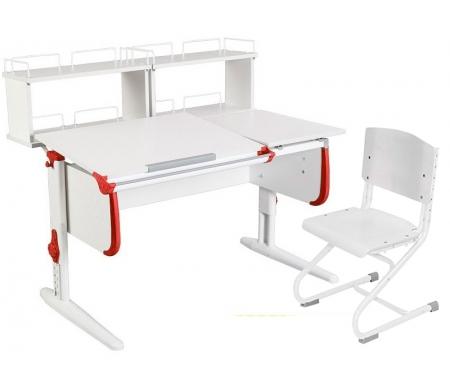 Растущая парта White СУТ 25 с задними полками СУТ 15.240 (2 шт.) и стулом СУТ 01-01 белый / красныйРастущие<br>Парты Дэми серии White – это удобные детские столы, выполненные в белом цвете, который прекрасно подходит в любую обстановку. Белый каркас парты разбавлен цветными пластиковыми накладками, делающими стол более ярким и интересным для детей.<br><br>Парта имеет раздельную столешницу, у которой можно поднять одну часть под углом от 0 до 26°, а вторую оставить в горизонтальном положении. Это сделано для того, чтобы за основной столешницей ребенок работал, а на дополнительной держал необходимую ему канцелярию. Части столешницы можно менять местами.<br><br>Стол комплектуется двумя задними приставками, на которых удобно располагать компьютер или учебные материалы. Размеры столешницы – 120 см на 55 см.<br><br><br>  <br><br><br>Особенности парт Дэми:<br><br>- Парта предусматривает регулировку по высоте и рассчитана на рост ребенка от 120 см до 198 см.<br><br>- В изделие встроен 9-ступенчатый механизм наклона столешницы, позволяющий установить наклон парты от 0 до 26°. Ребенок может зафиксировать столешницу в том положении, которое будет удобно ему для выполнения письменных работ, чтения и рисования.<br><br>- Угол наклона можно менять как у большой, так и малой столешницы.<br><br>- Края столешницы имеют специальные скругленные накладки, снижающие травмоопансость изделия.<br><br>- Подпятники на ножках обеспечивают устойчивость стола.<br><br>- Парта оснащена лотком-пеналом для ручек и карандашей. Глубина лотка-пенала: 6 см.<br><br>- Линейка-держатель не даст тетрадками упасть с поднятой столешницы, а благодаря крючку вы сможете удобно разместить рюкзак.<br><br>- Парту можно использовать с 5 лет и до окончания ребенком школы.<br><br>- Высоту ножек стула и наклон спинки можно менять. Так же можно отрегулировать сиденье по вылету. Максимальная глубина сиденья: 36 см.<br><br><br>  <br><br><br>Ширина малой столешницы: 43 см.<br><br>Размер двухъярусной задней полки 2 шт (ШхГх
