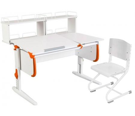 Растущая парта White СУТ 25 с задними полками СУТ 15.240 (2 шт.) и стулом СУТ 01-01 белый / оранжевыйРастущие<br>Парты Дэми серии White – это удобные детские столы, выполненные в белом цвете, который прекрасно подходит в любую обстановку. Белый каркас парты разбавлен цветными пластиковыми накладками, делающими стол более ярким и интересным для детей.<br> <br>Парта имеет раздельную столешницу, у которой можно поднять одну часть под углом от 0 до 26°, а вторую оставить в горизонтальном положении. Это сделано для того, чтобы за основной столешницей ребенок работал, а на дополнительной держал необходимую ему канцелярию. Части столешницы можно менять местами.<br> <br>Стол комплектуется двумя задними приставками, на которых удобно располагать компьютер или учебные материалы. Размеры столешницы – 120 см на 55 см.<br> <br> <br>  <br> <br> <br>Особенности парт Дэми:<br> <br>- Парта предусматривает регулировку по высоте и рассчитана на рост ребенка от 120 см до 198 см.<br> <br>- В изделие встроен 9-ступенчатый механизм наклона столешницы, позволяющий установить наклон парты от 0 до 26°. Ребенок может зафиксировать столешницу в том положении, которое будет удобно ему для выполнения письменных работ, чтения и рисования.<br> <br>- Угол наклона можно менять как у большой, так и малой столешницы.<br> <br>- Края столешницы имеют специальные скругленные накладки, снижающие травмоопансость изделия.<br> <br>- Подпятники на ножках обеспечивают устойчивость стола.<br> <br>- Парта оснащена лотком-пеналом для ручек и карандашей. Глубина лотка-пенала: 6 см.<br> <br>- Линейка-держатель не даст тетрадками упасть с поднятой столешницы, а благодаря крючку вы сможете удобно разместить рюкзак.<br> <br>- Парту можно использовать с 5 лет и до окончания ребенком школы.<br> <br>- Высоту ножек стула и наклон спинки можно менять. Так же можно отрегулировать сиденье по вылету. Максимальная глубина сиденья: 36 см.<br> <br> <br>  <br> <br> <br>Ширина малой столешницы: 43 см.<br> <br>Размер двухъярусной з