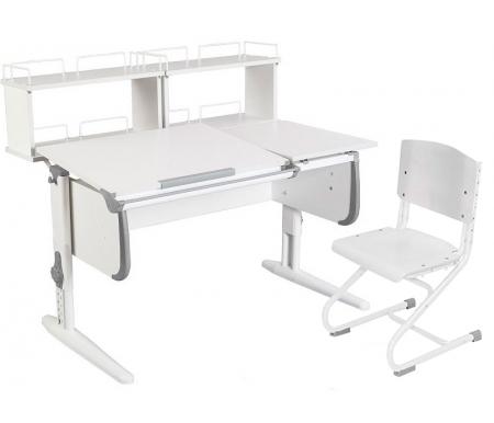 Растущая парта White СУТ 25 с задними полками СУТ 15.240 (2 шт.) и стулом СУТ 01-01 белый / серыйРастущие<br>Парты Дэми серии White – это удобные детские столы, выполненные в белом цвете, который прекрасно подходит в любую обстановку. Белый каркас парты разбавлен цветными пластиковыми накладками, делающими стол более ярким и интересным для детей.<br> <br>Парта имеет раздельную столешницу, у которой можно поднять одну часть под углом от 0 до 26°, а вторую оставить в горизонтальном положении. Это сделано для того, чтобы за основной столешницей ребенок работал, а на дополнительной держал необходимую ему канцелярию. Части столешницы можно менять местами.<br> <br>Стол комплектуется двумя задними приставками, на которых удобно располагать компьютер или учебные материалы. Размеры столешницы – 120 см на 55 см.<br> <br> <br>  <br> <br> <br>Особенности парт Дэми:<br> <br>- Парта предусматривает регулировку по высоте и рассчитана на рост ребенка от 120 см до 198 см.<br> <br>- В изделие встроен 9-ступенчатый механизм наклона столешницы, позволяющий установить наклон парты от 0 до 26°. Ребенок может зафиксировать столешницу в том положении, которое будет удобно ему для выполнения письменных работ, чтения и рисования.<br> <br>- Угол наклона можно менять как у большой, так и малой столешницы.<br> <br>- Края столешницы имеют специальные скругленные накладки, снижающие травмоопансость изделия.<br> <br>- Подпятники на ножках обеспечивают устойчивость стола.<br> <br>- Парта оснащена лотком-пеналом для ручек и карандашей. Глубина лотка-пенала: 6 см.<br> <br>- Линейка-держатель не даст тетрадками упасть с поднятой столешницы, а благодаря крючку вы сможете удобно разместить рюкзак.<br> <br>- Парту можно использовать с 5 лет и до окончания ребенком школы.<br> <br>- Высоту ножек стула и наклон спинки можно менять. Так же можно отрегулировать сиденье по вылету. Максимальная глубина сиденья: 36 см.<br> <br> <br>  <br> <br> <br>Ширина малой столешницы: 43 см.<br> <br>Размер двухъярусной задне