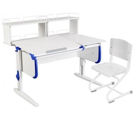 Растущая парта White СУТ 25 с задними полками СУТ 15.240 (2 шт.) и стулом СУТ 01-01 белый / синийРастущие<br>Парты Дэми серии White – это удобные детские столы, выполненные в белом цвете, который прекрасно подходит в любую обстановку. Белый каркас парты разбавлен цветными пластиковыми накладками, делающими стол более ярким и интересным для детей.<br><br>Парта имеет раздельную столешницу, у которой можно поднять одну часть под углом от 0 до 26°, а вторую оставить в горизонтальном положении. Это сделано для того, чтобы за основной столешницей ребенок работал, а на дополнительной держал необходимую ему канцелярию. Части столешницы можно менять местами.<br><br>Стол комплектуется двумя задними приставками, на которых удобно располагать компьютер или учебные материалы. Размеры столешницы – 120 см на 55 см.<br><br><br>  <br><br><br>Особенности парт Дэми:<br><br>- Парта предусматривает регулировку по высоте и рассчитана на рост ребенка от 120 см до 198 см.<br><br>- В изделие встроен 9-ступенчатый механизм наклона столешницы, позволяющий установить наклон парты от 0 до 26°. Ребенок может зафиксировать столешницу в том положении, которое будет удобно ему для выполнения письменных работ, чтения и рисования.<br><br>- Угол наклона можно менять как у большой, так и малой столешницы.<br><br>- Края столешницы имеют специальные скругленные накладки, снижающие травмоопансость изделия.<br><br>- Подпятники на ножках обеспечивают устойчивость стола.<br><br>- Парта оснащена лотком-пеналом для ручек и карандашей. Глубина лотка-пенала: 6 см.<br><br>- Линейка-держатель не даст тетрадками упасть с поднятой столешницы, а благодаря крючку вы сможете удобно разместить рюкзак.<br><br>- Парту можно использовать с 5 лет и до окончания ребенком школы.<br><br>- Высоту ножек стула и наклон спинки можно менять. Так же можно отрегулировать сиденье по вылету. Максимальная глубина сиденья: 36 см.<br><br><br>  <br><br><br>Ширина малой столешницы: 43 см.<br><br>Размер двухъярусной задней полки 2 шт (ШхГхВ)