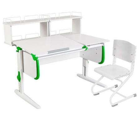 Растущая парта White СУТ 25 с задними полками СУТ 15.240 (2 шт.) и стулом СУТ 01-01 белый / зеленыйРастущие<br>Парты Дэми серии White – это удобные детские столы, выполненные в белом цвете, который прекрасно подходит в любую обстановку. Белый каркас парты разбавлен цветными пластиковыми накладками, делающими стол более ярким и интересным для детей.<br><br>Парта имеет раздельную столешницу, у которой можно поднять одну часть под углом от 0 до 26°, а вторую оставить в горизонтальном положении. Это сделано для того, чтобы за основной столешницей ребенок работал, а на дополнительной держал необходимую ему канцелярию. Части столешницы можно менять местами.<br><br>Стол комплектуется двумя задними приставками, на которых удобно располагать компьютер или учебные материалы. Размеры столешницы – 120 см на 55 см.<br><br><br>  <br><br><br>Особенности парт Дэми:<br><br>- Парта предусматривает регулировку по высоте и рассчитана на рост ребенка от 120 см до 198 см.<br><br>- В изделие встроен 9-ступенчатый механизм наклона столешницы, позволяющий установить наклон парты от 0 до 26°. Ребенок может зафиксировать столешницу в том положении, которое будет удобно ему для выполнения письменных работ, чтения и рисования.<br><br>- Угол наклона можно менять как у большой, так и малой столешницы.<br><br>- Края столешницы имеют специальные скругленные накладки, снижающие травмоопансость изделия.<br><br>- Подпятники на ножках обеспечивают устойчивость стола.<br><br>- Парта оснащена лотком-пеналом для ручек и карандашей. Глубина лотка-пенала: 6 см.<br><br>- Линейка-держатель не даст тетрадками упасть с поднятой столешницы, а благодаря крючку вы сможете удобно разместить рюкзак.<br><br>- Парту можно использовать с 5 лет и до окончания ребенком школы.<br><br>- Высоту ножек стула и наклон спинки можно менять. Так же можно отрегулировать сиденье по вылету. Максимальная глубина сиденья: 36 см.<br><br><br>  <br><br><br>Ширина малой столешницы: 43 см.<br><br>Размер двухъярусной задней полки 2 шт (ШхГх