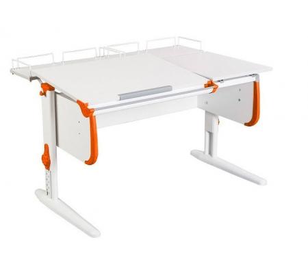 Растущая парта White СУТ 25 с задними полкамий СУТ 15.210 (2 шт.)  белый / оранжевыйРастущие<br>Парты Дэми серии White – это удобные детские столы, выполненные в белом цвете, который прекрасно подходит в любую обстановку. Белый каркас парты разбавлен цветными пластиковыми накладками, делающими стол более ярким и интересным для детей. <br>Парта имеет раздельную столешницу, у которой можно поднять одну часть под углом от 0 до 26°, а вторую оставить в горизонтальном положении. Это сделано для того, чтобы за основной столешницей ребенок работал, а на дополнительной держал необходимую ему канцелярию. Части столешницы можно менять местами.<br> <br>Стол комплектуется двумя задними приставками, на которых удобно располагать компьютер или учебные материалы. Размеры столешницы – 120 см на 55 см.<br> <br> <br>  <br> <br> <br>Особенности парт Дэми:<br> <br>- Парта предусматривает регулировку по высоте и рассчитана на рост ребенка от 120 см до 198 см.<br> <br>- В изделие встроен 9-ступенчатый механизм наклона столешницы, позволяющий установить наклон парты от 0 до 26°. Ребенок может зафиксировать столешницу в том положении, которое будет удобно ему для выполнения письменных работ, чтения и рисования.<br> <br>- Угол наклона можно менять как у большой, так и малой столешницы.<br> <br>- Края столешницы имеют специальные скругленные накладки, снижающие травмоопансость изделия.<br> <br>- Подпятники на ножках обеспечивают устойчивость стола.<br> <br>- Парта оснащена лотком-пеналом для ручек и карандашей. Глубина лотка-пенала: 6 см.<br> <br>- Линейка-держатель не даст тетрадками упасть с поднятой столешницы, а благодаря крючку вы сможете удобно разместить рюкзак.<br> <br>- Парту можно использовать с 5 лет и до окончания ребенком школы. <br>  <br> <br>  <br> <br> <br>Ширина малой столешницы: 43 см.<br> <br>Размер одноярусной задней полки 2 шт (ШхГ): 55 см х 25 см.<br> <br>Материал: ЛДСП.<br>