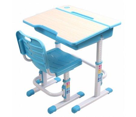 Комплект EVOLIFE Study 2 голубойСтолы<br>Комплект EVOLIFE Study 2 голубой подойдет для детей от 1,5 лет. <br>Комплект включает в себя письменный стол и стул и является прекрасным вариантом для учебы, игр и различных творческих занятий.<br> <br>Высота столешницы и стула регулируются, что позволяет использовать комплект при росте от 113 до 173 см.<br> <br>Для большего удобства письма столешница наклонена на 7 градусов.<br> <br>Благодаря эргономичной форме сиденья и спинке стула формируется правильная осанка.<br> <br>Стол оснащен удобным ящиком для хранения письменных принадлежностей.<br> <br>На столешнице имеется ниша для хранения карандашей.<br><br>Длина стола: 70 см<br>Ширина стола: 50 см<br>Высота стола: от 52 см до 78 см<br>Ширина стула: 40 см<br>Глубина стула: 36 см<br>Высота стула: от 30 см до 44 см<br>Материал каркаса: пищевой пластик / сталь<br>Цвет каркаса: голубой / белый<br>Материал столешницы: МДФ<br>Цвет столешницы: дуб молочный<br>Вес: 18,8 кг