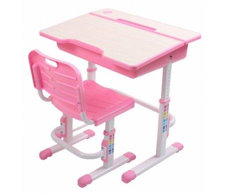 Комплект EVOLIFE Study 2 розовыйСтолы<br>Комплект EVOLIFE Study 2 розовый подходит для детей возрастом от 1,5 лет. <br>Комплект включает в себя письменный стол и стул и является прекрасным вариантом для учебы, игр и различных творческих занятий.<br> <br>Высота столешницы и стула регулируются, что позволяет использовать комплект при росте от 113 до 173 см.<br> <br>Для большего удобства письма столешница наклонена на 7 градусов.<br> <br>Благодаря эргономичной форме сиденья и спинке стула формируется правильная осанка.<br> <br>Стол оснащен удобным ящиком для хранения письменных принадлежностей.<br> <br>На столешнице имеется ниша для хранения карандашей.<br><br>Длина стола: 70 см<br>Ширина стола: 50 см<br>Высота стола: от 52 см до 78 см<br>Ширина стула: 40 см<br>Глубина стула: 36 см<br>Высота стула: от 30 см до 44 см<br>Материал каркаса: пищевой пластик / сталь<br>Цвет каркаса: розовый / белый<br>Материал столешницы: МДФ<br>Цвет столешницы: дуб молочный<br>Вес: 18,8 кг