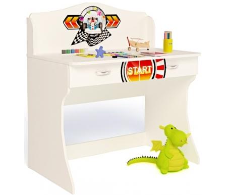 Стол без надстройки Спорт (Sport)Столы<br>Стол без надстройки Спорт (Sport) имеет два выдвижных ящика. <br><br> <br>В конструкции мебели применяется ДСП немецкого производства, покрытая современными эмалями, благодаря которым за поверхностями мебели легко ухаживать. Для производства используются исключительно экологически чистые материалы. <br>  <br> <br>  Рисунок нанесен акриловыми красками - они не выгорают на солнце и ребенок их никак не отклеит, это безопасный материал.<br> <br> <br>Этот стол также продается с надстройкой.<br><br>Ширина: 100 см<br>Глубина: 60 см<br>Высота: 108,5 см<br>Материал: ДСП<br>Цвет корпуса: белый