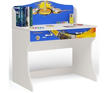 Стол Чемпион (Champion) без надстройкиСтолы<br>Письменный стол Чемпион (Champion) имеет два выдвижных ящика.  <br><br> <br>В конструкции мебели применяется ДСП немецкого производства, покрытая современными эмалями, благодаря которым за поверхностями мебели легко ухаживать. Для производства используются исключительно экологически чистые материалы. <br>  <br> <br>  Рисунок нанесен акриловыми красками - они не выгорают на солнце и ребенок их никак не отклеит, это безопасный материал.<br> <br> <br>Вы также можете приобрести этот столс надстройкой.<br><br>Ширина: 100 см<br>Глубина: 60 см<br>Высота: 108,5 см<br>Материал: ДСП<br>Цвет корпуса: белый<br>Цвет фасада: синий, красный, оранжевый, белый