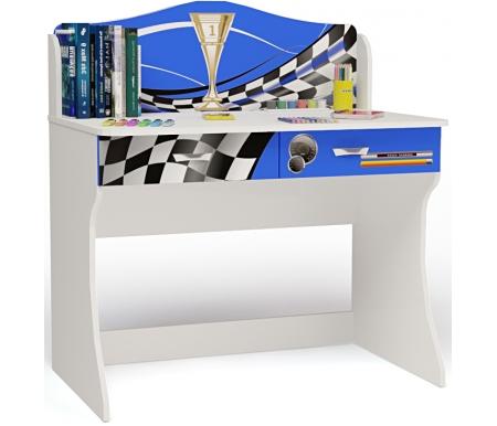 Стол Формула (Formula) без надстройкиСтолы<br>Письменный стол Формула (Formula) имеет два выдвижных ящика.  <br><br> В конструкции мебели применяется ДСП немецкого производства, покрытая современными эмалями, благодаря которым за поверхностями мебели легко ухаживать. Для производства используются исключительно экологически чистые материалы.  <br><br> Рисунок нанесен акриловыми красками - они не выгорают на солнце и ребенок их никак не отклеит, это безопасный материал.<br><br><br> Этот стол также можно купить с надстройкой.<br><br>Ширина: 100 см<br>Глубина: 60 см<br>Высота: 108,5 см<br>Материал: ДСП<br>Цвет корпуса: белый<br>Цвет фасада: синий, красный, оранжевый, белый