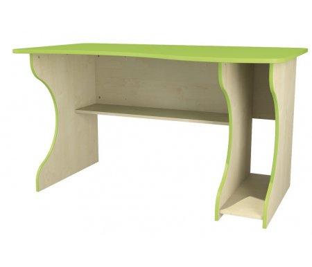 Стол Комби МН-211-05Столы<br>Письменный стол выполнен из МДФ. Имеет приятный дизайн и яркую расцветку. Снизу есть горизонтальная полка и вертикальная полка - место под системный блок компьютера. Прекрасно впишется в интерьер и станет функциональным дополнением комнаты. <br>Расположение вертикальной полки может быть как правое (правосторонняя сборка), так и левое (левосторонняя сборка).  <br>  <br> <br>   <br>    <br>   <br> <br>   <br>     <br>      Материал фасада: 18 Egger (Румыния).<br>     <br>      Материал корпуса: ДСП-16/25 Kronospan Szczecinek (Польша).<br>     <br>                     Кромка ПВХ 2.0 мм.<br>     <br>       <br>        Фурнитура и роликовые направляющие: GTV (Польша).<br>       <br>        Ручки - Schwinn (Германия).<br><br>Длина: 133 см<br>Ширина: 81 см<br>Высота: 75 см<br>Материал: ДСП, ПВХ<br>Цвет: береза / лайм