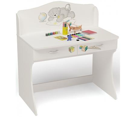 Стол Мишки (Bears) без надстройкиСтолы<br>Стол Мишки (Bears) без надстройки имеет два выдвижных ящика. <br><br> <br>В конструкции мебели применяется ДСП немецкого производства, покрытый современными эмалями, благодаря которым за поверхностями мебели легко ухаживать. Для производства используются исключительно экологически чистые материалы. <br>  <br> <br>  Рисунок нанесен акриловыми красками - они не выгорают на солнце и ребенок их никак не отклеит, это безопасный материал.<br> <br> <br>Вы можете приобрести стол как отдельно, так и в составекомплекта детской мебели Мишки (Bears). <br><br>Этот стол также продается с надстройкой.<br><br>Ширина: 100 см<br>Глубина: 60 см<br>Высота: 108,5 см<br>Материал: ДСП<br>Цвет корпуса: белый