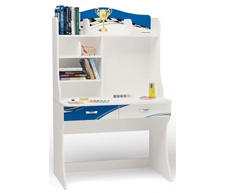 Стол с надстройкой La-manСтолы<br>Письменный стол с надстройкой La-man имеет два выдвижных ящика.  <br>  Стол подходит для установления ноутбука или компьютера.   <br>  <br>  <br>    В конструкции мебели применяется ДСП немецкого производства, покрытая современными эмалями, благодаря которым за поверхностями мебели легко ухаживать. Для производства используются исключительно экологически чистые материалы.  <br>    <br>    <br>      Рисунок нанесен акриловыми красками - они не выгорают на солнце и ребенок их никак не отклеит, это безопасный материал. <br>   <br>  <br>   <br>  <br>    Вы можете приобрести стол как отдельно, так и в составе комплекта детской мебели La-man.   <br>  <br>    Этот стол продается и без надстройки.<br><br>Ширина: 100 см<br>Глубина: 60 см<br>Высота: 161,1 см<br>Материал: ДСП<br>Цвет корпуса: белый<br>Цвет фасада: синий, красный