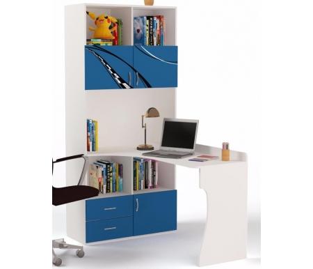 Стол-стеллаж Формула (Formula)Столы<br>Стол-стеллаж Формула (Formula) выполняет роль парты и объемного места для хранения. <br><br> В конструкции мебели применяется ДСП немецкого производства, покрытая современными эмалями, благодаря которым за поверхностями мебели легко ухаживать. Для производства используются исключительно экологически чистые материалы.  <br><br> Рисунок нанесен акриловыми красками - они не выгорают на солнце и ребенок их никак не отклеит, это безопасный материал.<br><br><br><br> Стол-стеллаж может быть как правосторонний, так и левосторонний.<br><br><br> Длина от пола до столешницы: 77 см.<br><br><br> Длина столешницы: 137 см.<br><br>Ширина: 90 см<br>Глубина: 134 см<br>Высота: 196,7 см<br>Материал: ДСП<br>Цвет корпуса: белый<br>Цвет фасада: синий, красный, оранжевый, белый