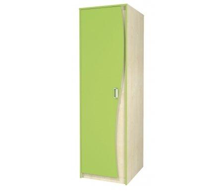 Шкаф для одежды Комби МН-211-15Шкафы одежные<br>Высокийоднодверный шкаф для одежды. Выполнен из МДФ, имеет яркую расцветку и необычный дизайн. Хорошо впишется в интерьер детской. Внутри шкафа: место для вешалок и полка сверху.<br> <br> <br>   <br>    <br>   <br> <br>   <br>     <br>      Материал фасада: 18 Egger (Румыния).<br>     <br>      Материал корпуса: ДСП-16/25 Kronospan Szczecinek (Польша).<br>     <br>                      Кромка ПВХ 2.0 мм.<br>     <br>       <br>        Фурнитура и роликовые направляющие: GTV (Польша).<br>       <br>        Ручки - Schwinn (Германия).<br><br>Ширина: 54 см<br>Глубина: 62 см<br>Высота: 183 см<br>Материал: ДСП, ПВХ<br>Цвет: береза / лайм